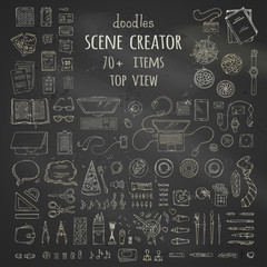 Vector set of chalk work place gadgets and stationery.