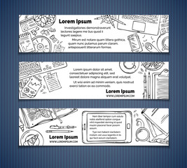 Vector set of office workplace horizontal banners.