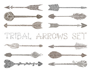Vector set of ethnic arrows isolated on white background.