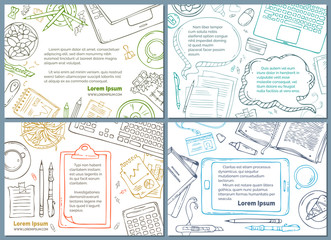 Vector set of office workplace / education backgrounds.