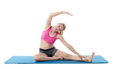 Woman doing stretching exercises..