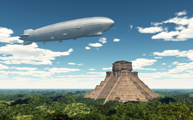 Zeppelin über Maya Tempel