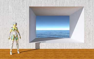 Female robot in front of wall with opening