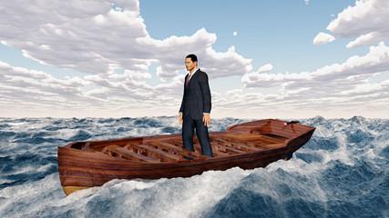 Geschäftsmann im Boot in stürmischer See