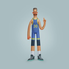 illustration smiling men basketball player