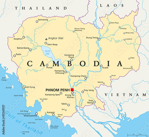 Cambodia political map with capital Phnom Penh, national borders ...
