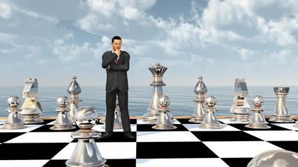 Geschäftsmann auf einem Schachbrett