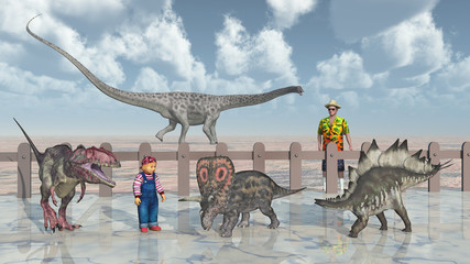 Mann, Kind und Dinosaurier im Streichelzoo