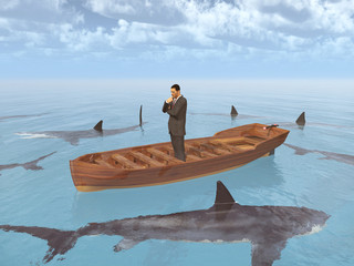 Geschäftsmann im Boot umgeben von Haifischen
