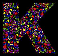 Illustration of  fantasy Letter K on black background. Vector image.