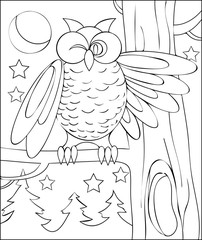 Page with black and white illustration of owl for coloring. Developing children skills for drawing. Vector image.