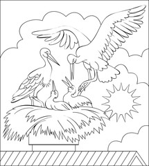 Page with black and white illustration of stork family in the nest for coloring. Developing children skills for drawing. Vector image.