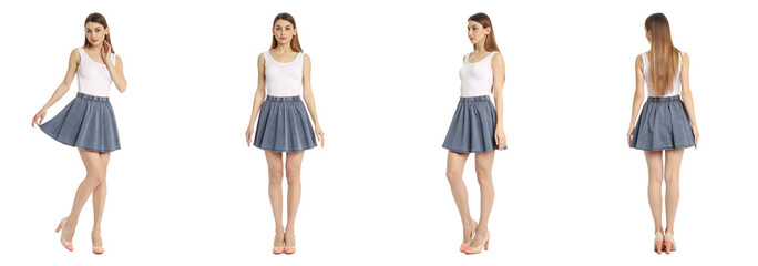 Portrait of woman on white background wearing skirt