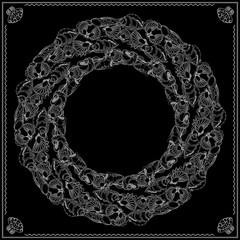 Black and white marine bandana square pattern design.