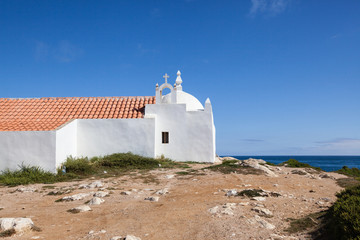 Traditional white church, Baleal, Peniche, Portugal