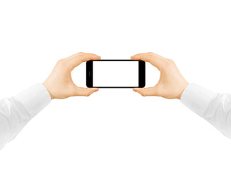 Man hold phone blank screen mockup in two hands, taking photo. Clear display smartphone mockup taking self shot, selfie photography.