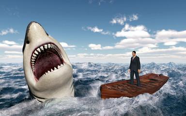 Geschäftsmann im Boot in stürmischer See und auftauchender Haifisch