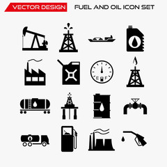 Fuel and oil icon set, vector symbols