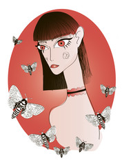 Abstract Girl with Big Red Eyes and Short Bangs Hairstyle with Butterflies