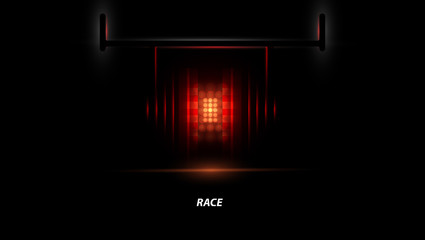 Racing car backlight. F1 spotlight. Abstract dark background