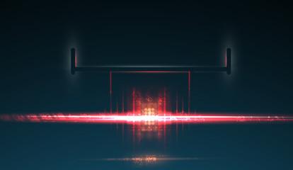Racing car backlight. F1 spotlight. Abstract dark background