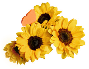 Bouquet of sunflowers with paper butterfly on white background