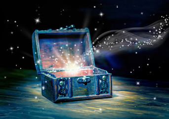 concept greeting card of opened chest treasure with mystical mir