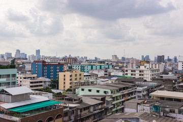 Bangkok Cityscape, Business district with high building at sunsh