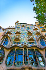 Facade of Casa Batllo building in Barcelona in Spain