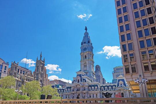 Philadelphia City Hall with William Penn sculpture on Tower