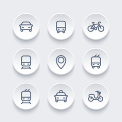 City and public transport icons, transportation vector signs, route, bus, subway, taxi, bike, train, railroad