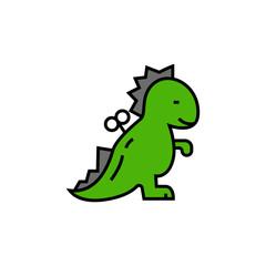 Windup dinosaur line icon