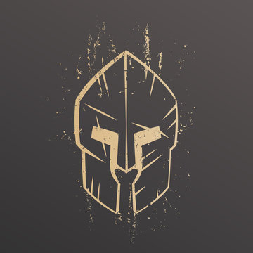 spartan helmet with scratches, outline, front view on dark