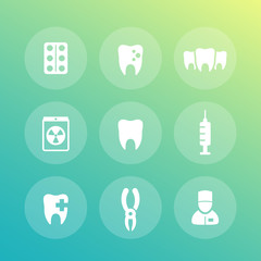 Teeth icons set, stomatology, dental clinic, toothache, vector illustration