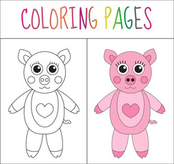 Coloring book page. Pig. Sketch and color version. Coloring for kids. Vector illustration