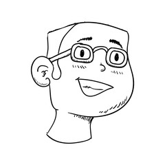 Person and cartoon concept represented by man icon. Isolated and sketch illustration