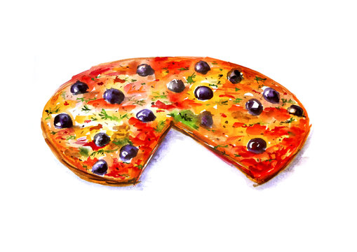 Illustration, watercolor painting - a slice of pizza. On an isolated white background