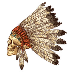 Hand Drawn Native American Indian Headdress With Human Skull In Profile. Vector Color Illustration Of Indian Tribal Chief Feather Hat And Skull Side View