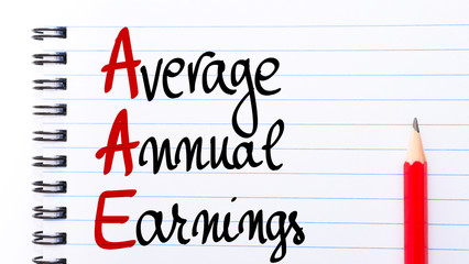 AAE Average Annual Earnings written on notebook page