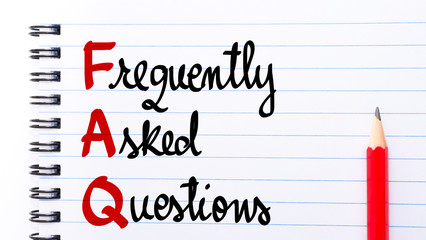 FAQ Frequently Asked Questions written on notebook page