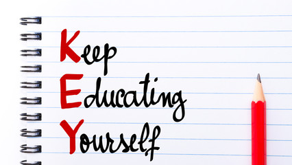 KEY Keep Educating Yourself written on notebook page