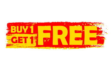 buy one get one free, yellow and red drawn label, vector