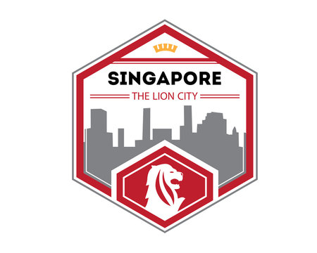Modern Country & City Badge - Singapore