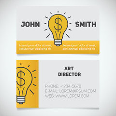 Business card print template. Art director