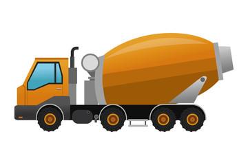 flat design concrete mixer truck icon vector illustration