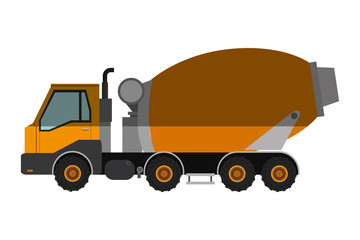 flat design concrete mixer truck icon vector illustration