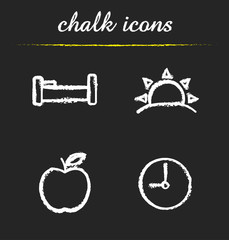Daily timetable icons set