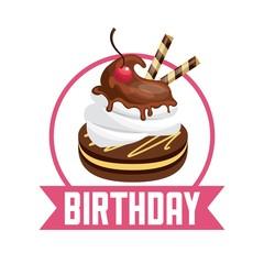 Pastry icon. Happy Birthday design. Vector graphic.