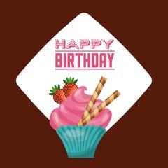 Cupcake icon. Happy Birthday design. Vector graphic.