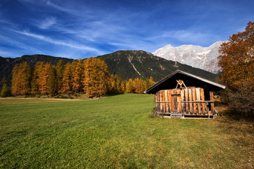 Mountain scenery in the Alps with old alpine hut shed. Mieminger plateau, Austria, Tyrol.